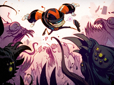Impossible Jack creaturebox spaceman sci-fi illustration cartoon pink orange