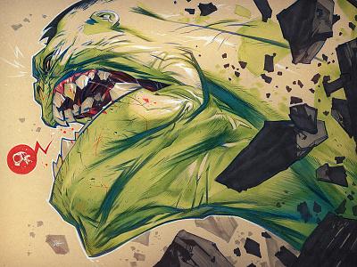 SMASH creaturebox hulk illustration tradition pencil marker green