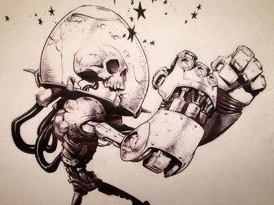 Numbskull creaturebox illustration cartoon skull pen robot mech
