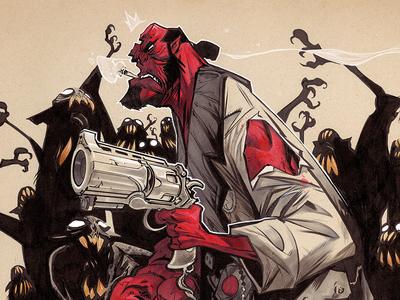 Raising Hell red cartoon monster hellboy creaturebox