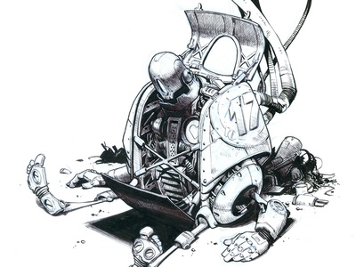 In Repair blue heart sketch ink robot creaturebox