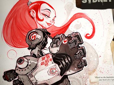 Sydney character design illustration ink red creaturebox