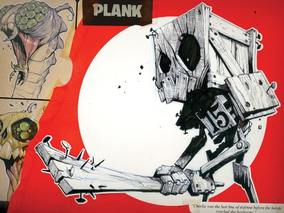 Plank illustration cartoon ink red robot creaturebox