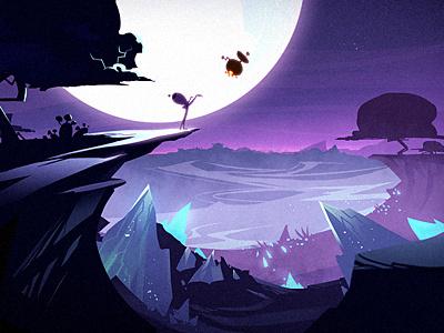A Long Night purple illustration landscape night moon