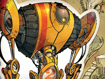Construction Bot robot yellow illustration character design 2
