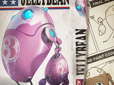 Jellybean creaturebox model robot jellybean illustration texture