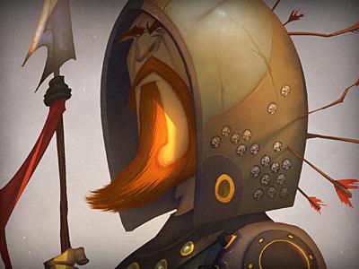 Weekend Warrior orange brown warrior helmet cartoon illustration