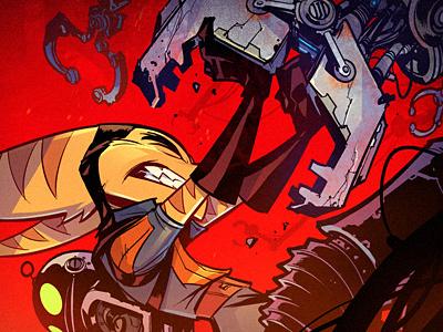 The Struggle red robot ratchet illustration cartoon