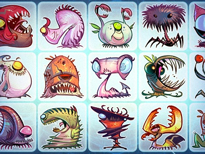 Critter Zoo creatures monsters critters blue
