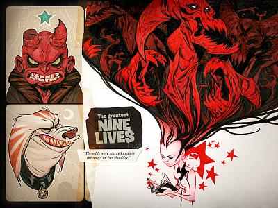 2018 Book Collection illustration cartoon cat red girl creature monster marker ink pen artbook