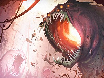 The Evil Beneath monster creature illustration purple red pink orange teeth