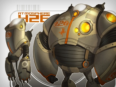 The New Sheriffs are in Town! robots creaturebox orange illustration space grey
