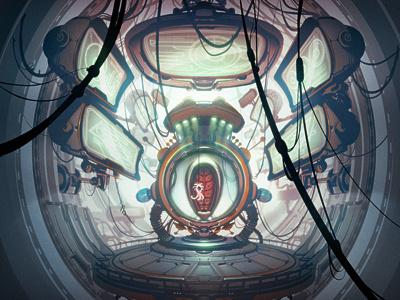 Throneroom illustration cartoon science fiction sci-fi green gray