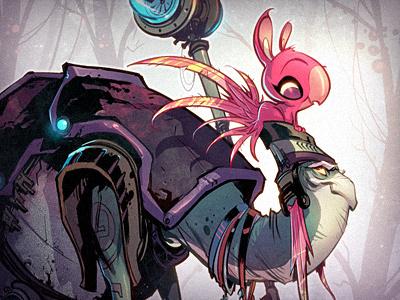 The Elder cartoon illustration character creature monster pink green purple