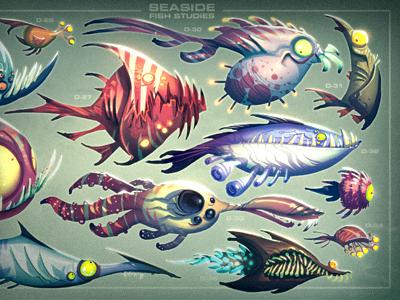 Under the Sea cartoon monster creature illustration green rainbow teeth red orange