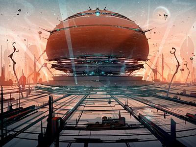On the Horizon orange blue battle war robot base villain illustration