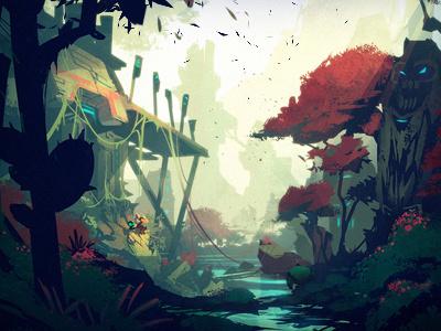 The Hideaway illustration painting environment vista