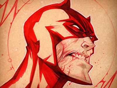 The Man Without Fear illustration red daredevil marvel kickstarter