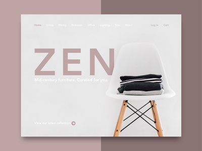 Website Concept for Furniture Online Shop online store shop home page furniture mid century red maroon minimal concept website zen