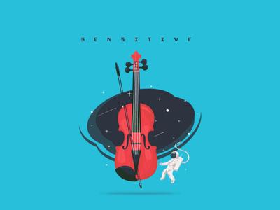 sensitive flatdesign astronaut violin space illustration earth