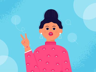Avatar_girl_character_ avatar typography minimal ui ux logo animation branding vector design illustration
