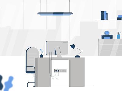 Workspace animation minimal ux design typography ui vector illustration branding logo