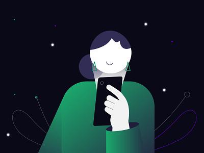 Using_Phone typography design ux ui branding minimal illustration darkbackgroung illustrator vector using mobile mobile usingphone phone illustration animation logo