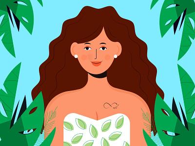 Jungle.WavyHairs.Tatoo wavyhairs hairs girlhairs tatoo jungle girl ui ux branding typography design minimal vector illustration animation logo