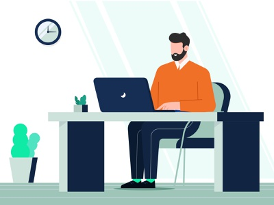 Man Working design minimal workspace office man working on laptop laptop working man typography branding vector illustration animation logo