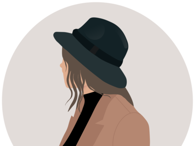 illustrated woman with hat