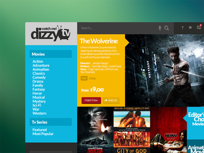 dizzyTV movie app ui console tablet mobile movie smart tv movie app app
