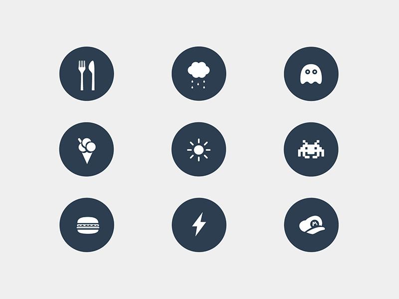 Random icons icon icons illustration design food game weather flat hamburguer free download freebie