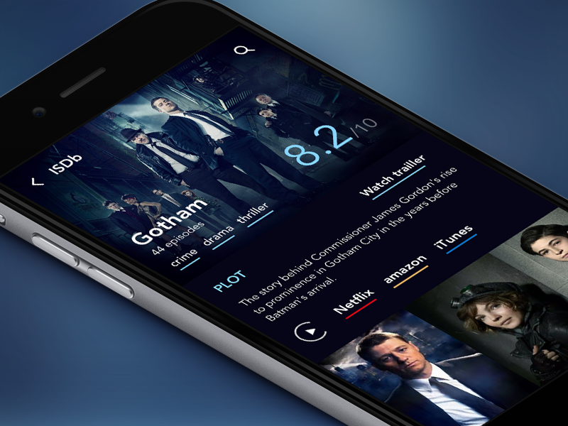 Series Database app  interface iphone ux feed entertainment movies series ui dark mobile app ios
