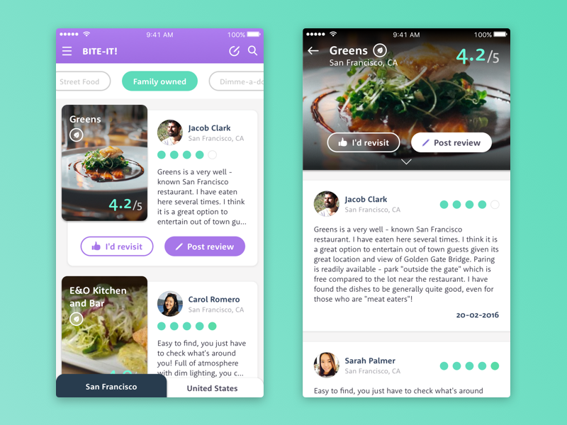 Restaurant/Food Review app like dailyui vegetarian healthy card comments review feed restaurant food ios app