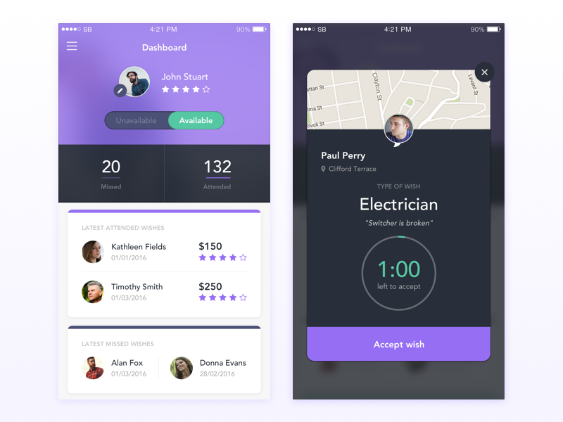 Genio - Services on Demand window profile switcher app daily feed timer ios ux ui dashboard