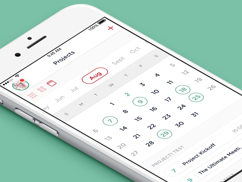 iOS Project Management App (Calendar) gotham dashboard events utility management tasks todo minimal.clean ios app project calendar