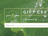Greenhouse gift certificate