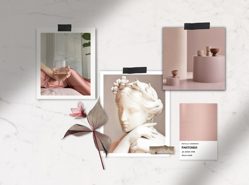 mood board for Moore Beauty Skin Care Brand