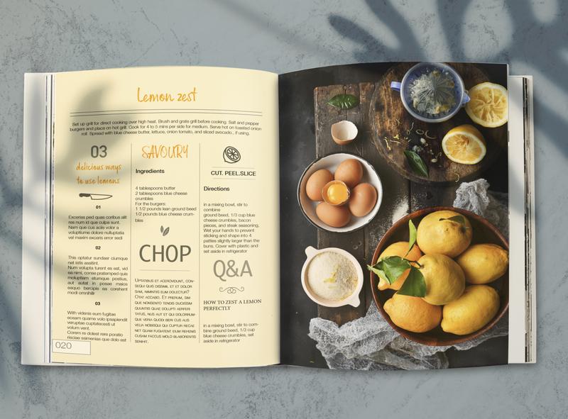 Lemonade Food Magazine page mockup design recipe page indesign lemon zest typography magazine photography magazine illustration magazine design magazine layout