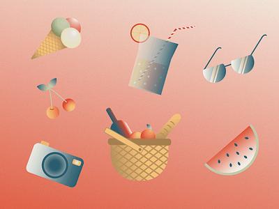 Summer vibes simple sketch picnic lemonade icecream fruit summertime sticker vacation inspiration creative flat draw design beach artist art illustraion illustrator summer