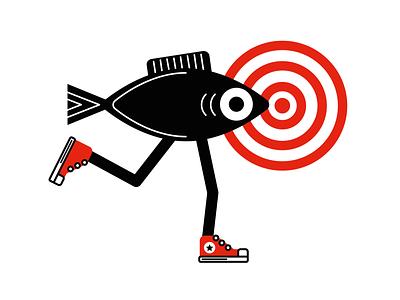 Sneakers for fish art sneakers fish vector branding creative design draw flat logo illustration