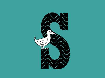 Duck Sebastian character lettering letter bird logo bird duck icon design typography vector branding logo illustration flat draw