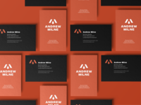 Andrew Milne Bizz icon mark logo layout typography red branding design business card