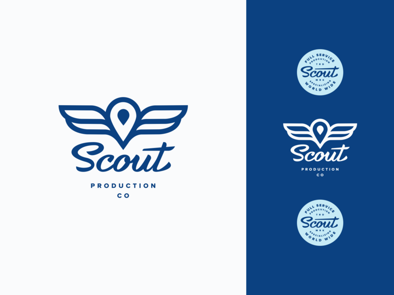 Scout Logo logo design mark icon wings blue badge typography lettering script scout branding brand logo