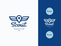 Scout Logo logo design mark icon wings blue badge typography lettering script scout branding brand logo