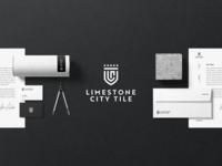 Limestone City Tile Branding brand identity brand design crown black print brand tile crest monogram logo branding