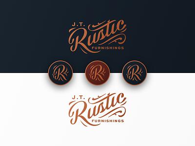 JT Rustic Furnishings Branding rustic logo mark script lettering furniture r monogram badge logo branding brand