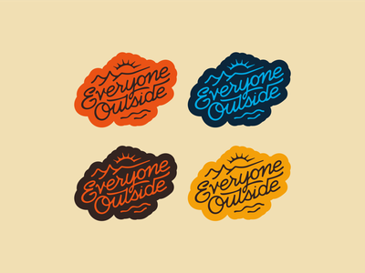 Everyone Outside! explore adventure camp hand letter designbydiamond script outside hike outdoors water sun branding brand typography lettering