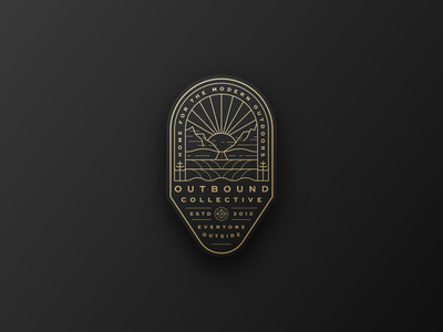 Outbound Collective - The Horizon horizon sky ocean surf tree badge gold line explore moutains camp hike sun illustration branding brand outdoors