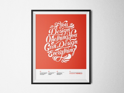 Design Everything  typography lettering massimo vignelli design by diamond poster design